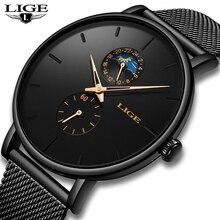 2020 LIGE رجالي ساعات العلامة التجارية الفاخرة ساعة كوارتز رجالية شبكة حزام فاخر مقاوم للماء الرياضة ساعة الرجال الذكور ساعة اليد رجل