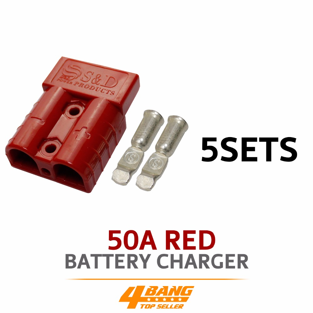5pcs 50AMP 600V Red Battery Exterior Wire DC Power Solar Connector Caravan Kit image