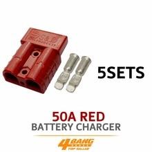 5pcs 50AMP 600V Red Battery Exterior Wire DC Power Solar Connector Caravan Kit