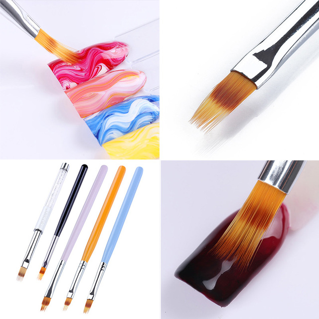 1 Pc UV Gel Gradient Brush Drawing Painting Pen Nail Brush Rhinestone Wooden Handle Manicure Nail Art Tool