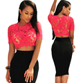 Sexy See-through Shirt 2016 New Fashion  Women Summer Lace Blouses  Slim Fit Short Sleeve Female Clothing  Ladies Tops Tee