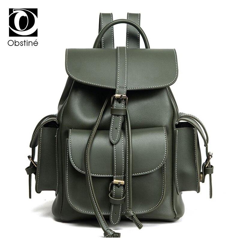 Vintage School Backpack Female Pu Leather Drawstring Bag Schoolbag Women's Backpacks For Girls Travel Back Pack Women Bagpack