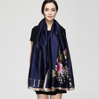 2017 Fashion Bandana Long Shawls Gold Printing Silk Scarf Luxury Brand Rose Floral Flower Scarves Women