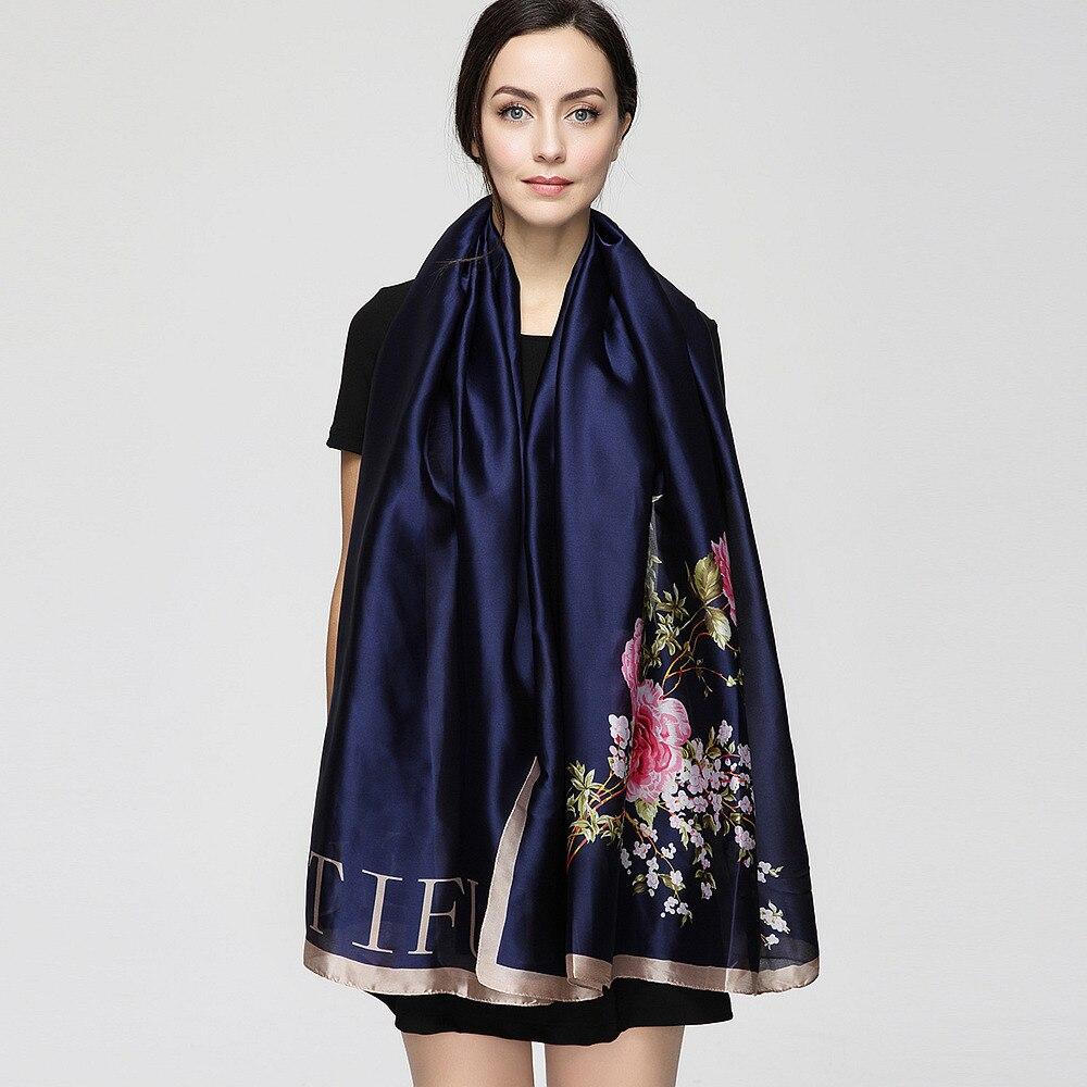 2017 Fashion bandana Long Shawls Gold Printing Silk s