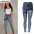 Femme Pantalon 2017 Women's Ripped Skinny Jeans Ladies Hole High Waisted Denim Trousers Jegging Pencil Pants