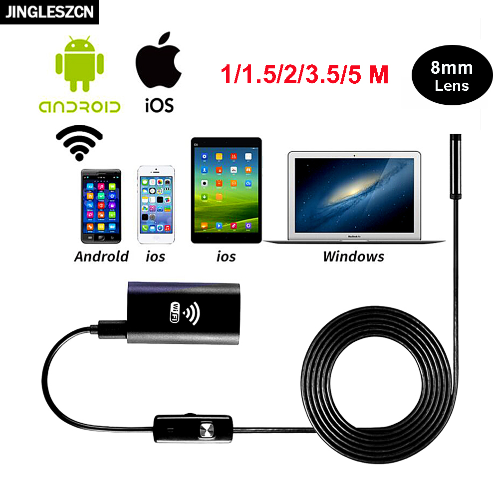 JINGLESZCN Wireless WiFi Endoscope USB Camera 8mm Dia 1m 2m 3.5m 5m 10m Inspection Cam Borescope Snake Camera for Android IOS PC 8mm 1m 2m 3 5m wifi ios endoscope camera borescope ip67 waterproof inspection for iphone endoscope android pc hd ip camera