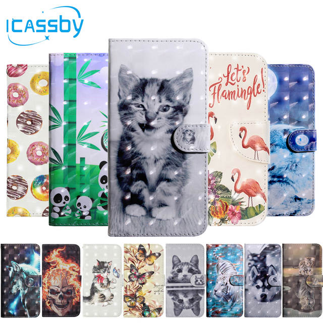 Flip Book Case For Coque Huawei Y5 2018 Luxury Cat Flamingo Skull PU  Leather Wallet Phone Cover For Huawei Y5 2018 Case Etui