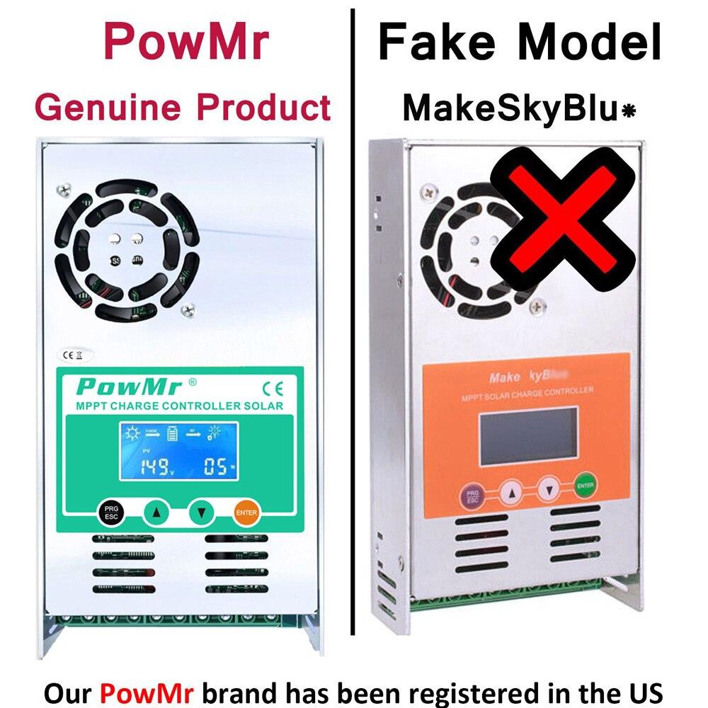 Controlador de carga y descarga Solar PowMr MPPT 60A 50A 40A 30A 12V 24V 36V 48VAuto para batería de litio de ácido de plomo Max PV 190VDC