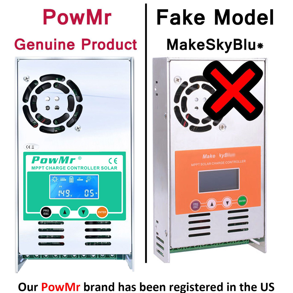 PowMr MPPT 60A 50A 40A 30A Solar Charge and Discharge Controller 12V 24V 36V 48VAuto for Max PV 190VDC Lead Acid Lithium Battery