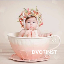 DVOTINST Baby Photography Props Iron Basket Tea Cup