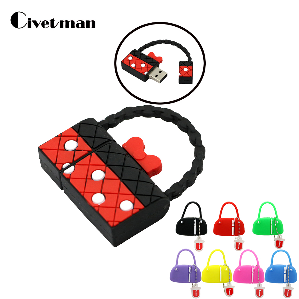 Cartoon Handbag Pendrive 8GB 16GB 32GB 64GB USB Flash כונן זיכרון מקל סטיק USB כונן עט כונן 128GB אחסון חיצוני