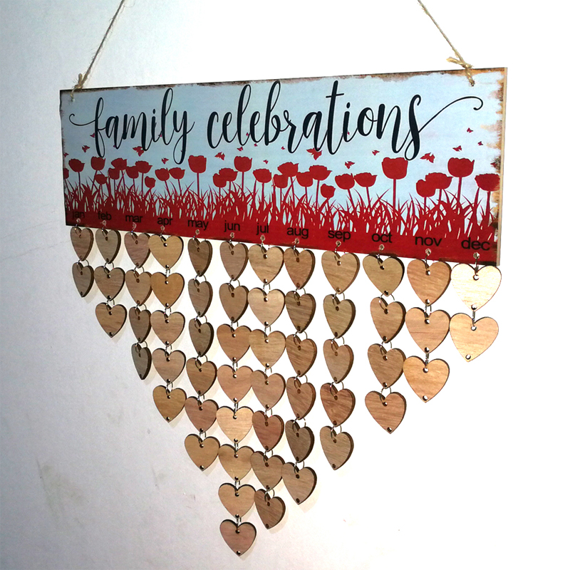 Деревянный Семья торжеств тема Симпатичные DIY Семья календарь деревянная доска Семья особые даты планировщик знак висит Декор подарок