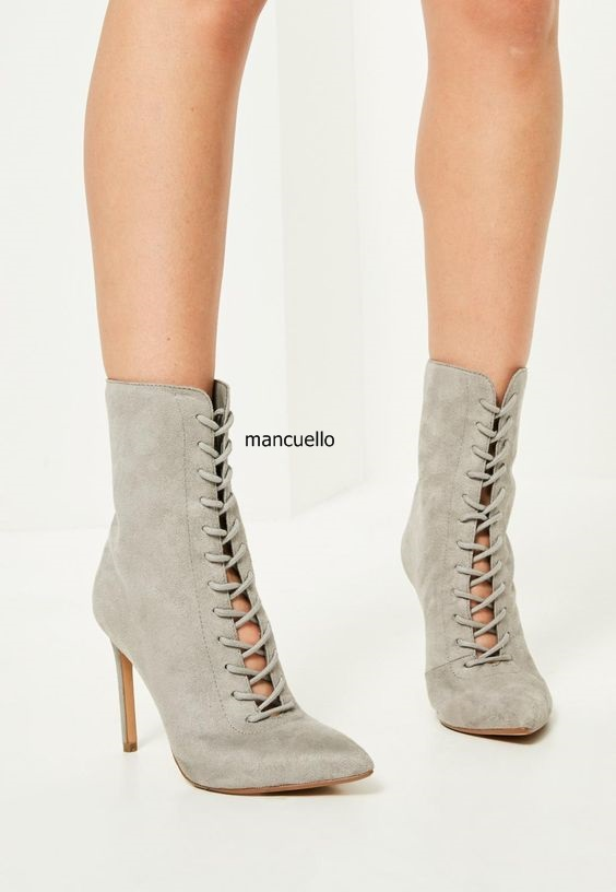 Grey Suede Pointed Toe Lace Up Stiletto Heel Ankle Boots Simply Design Women Thin High Heels Short Boots Fashion Shoes Hot Sell