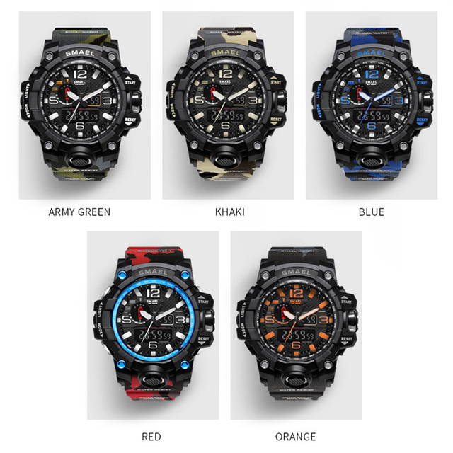 SMAEL Brand Camouflage Men's LED Sport Dual Display Waterproof Quartz Watches 3