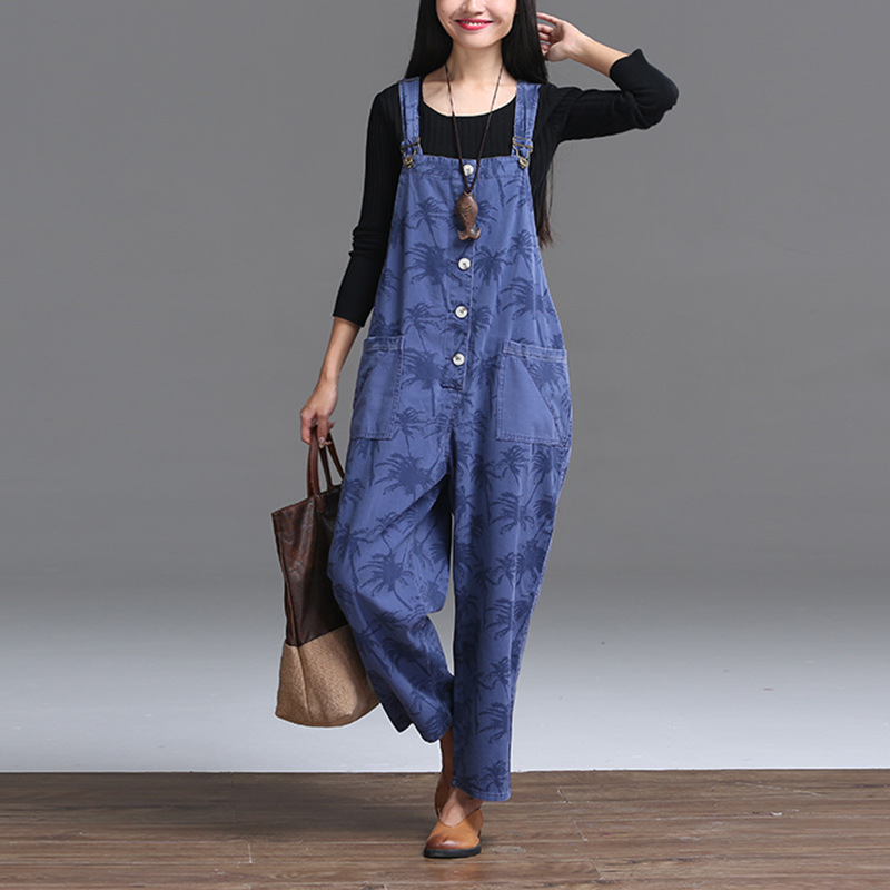 Sign loose big yards 2015 new winter washed cotton loose casual jeans overalls now