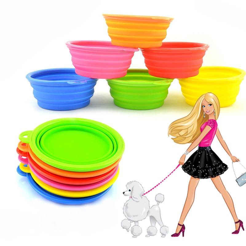 Складной силикона собака подачи bowl Карамельный цвет Открытый путешествия Портативный pupp складной Еда контейнер ...