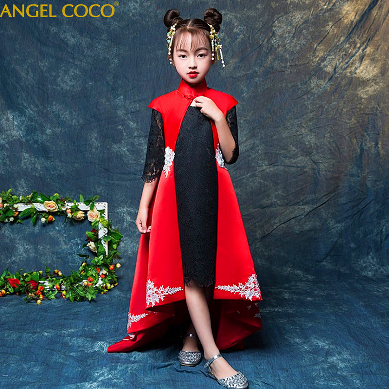 2 Pieces ( + Shawl ) Girls Evening Child Princess Red Moderator Model Catwalk Show Costumes Robe Fille