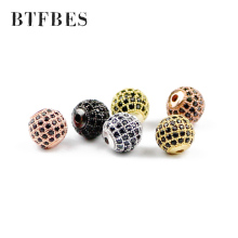 BTFBES 4pcs Black Zircon Copper Ball beads 6/8/10mm Round Glamour Loose Spaces for Jewelry bracelet making DIY Accessories