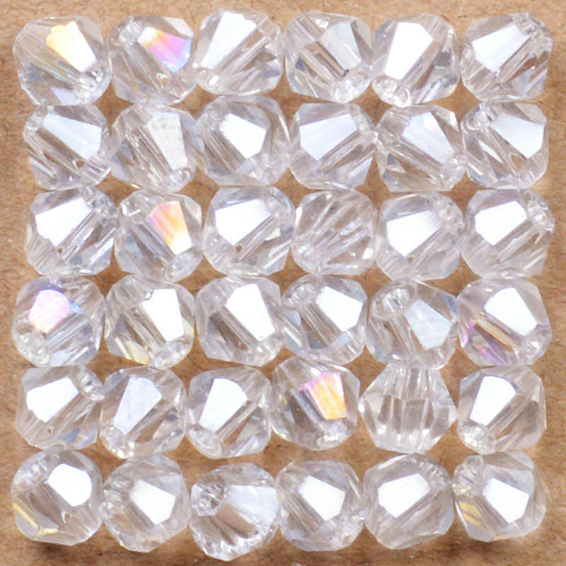 สีขาว AB Bicone ลูกปัด 100 ชิ้น/ล็อต 4 มิลลิเมตรภาษาเช็คคำหลวมลูกปัดคริสตัล/ลูกปัดแก้วสำหรับ DIY เครื่องประดับสร้อยคอสร้อยข้อมือ