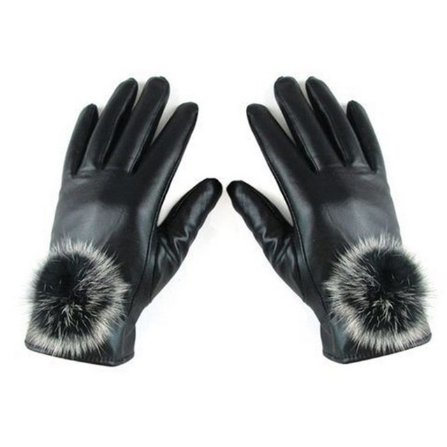 M MISM Winter Warm Mitten Women PU Leather Rabbit Fur Balls Female Gloves Causal Wrist Soft Covered Finger Velvet Fitness Gloves