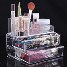2014 New Cosmetics Storage Box Jewelry Holder Crystal Cosmetic Box Acrylic Makeup Organizer Free Shipping