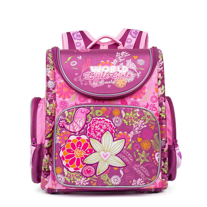 0f41a781c1a9 ... Российских детей Школьные ранцы розовый цветок печатных  Водонепроницаемый ортопедические нейлон дети Обувь для девочек рюкзак 3D ...