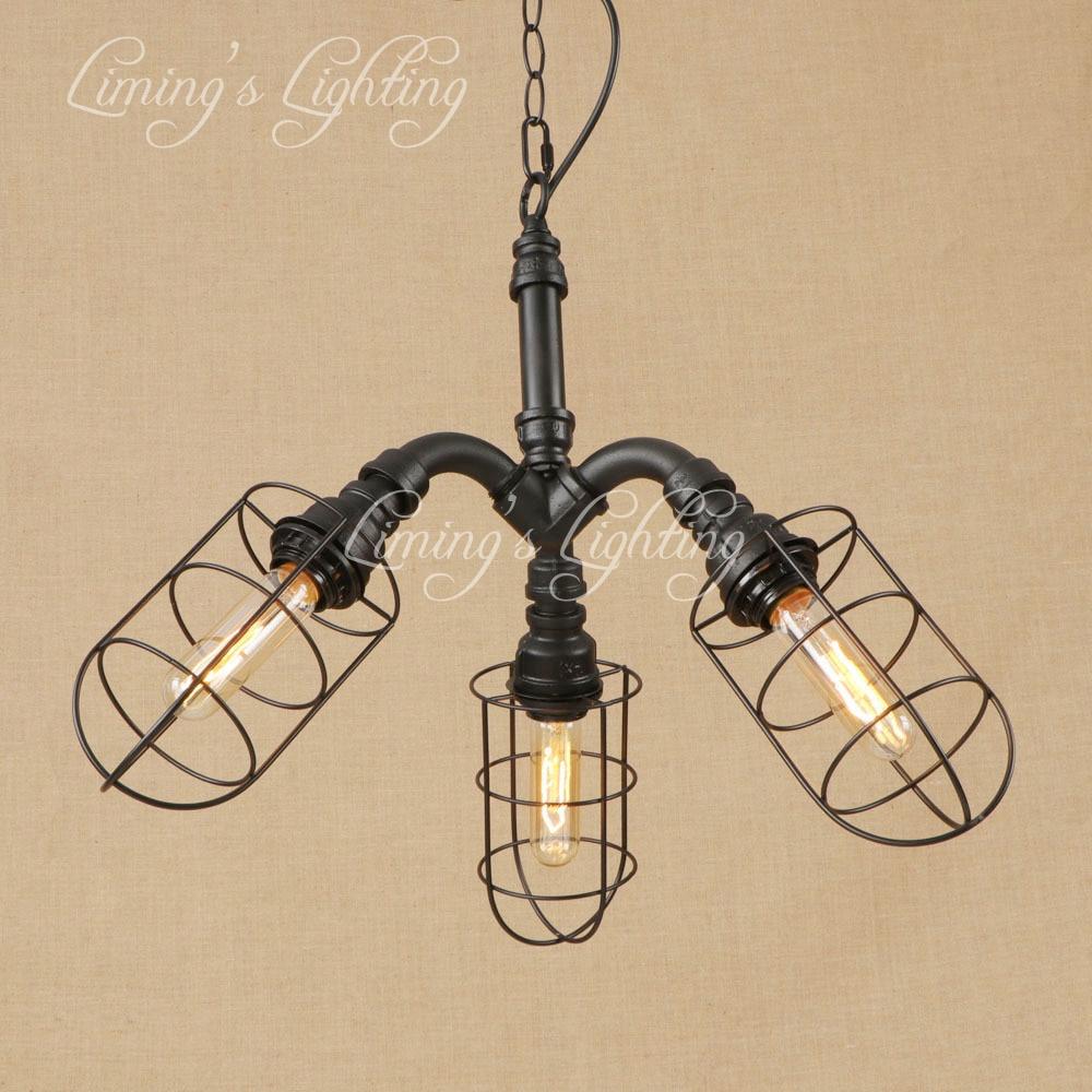 Vintage Iron PIPE Cage Metal Pendant Lamp LED 3 Lamp Pendant Light Fixture E27 110V 220V Kitchen Lights Hotel Room Bar Parlor