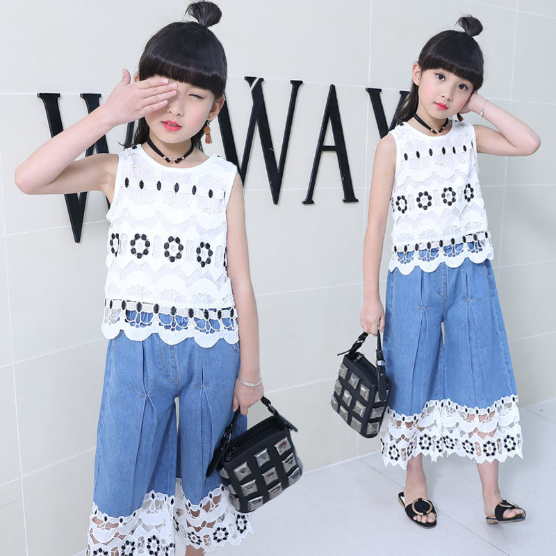 цена Toddler Girl Clothes Summer 2018 Lace Sleeveless Children Clothing Set Hollow Top Denim Wide-leg Pants Kids Clothes 10 12 Years