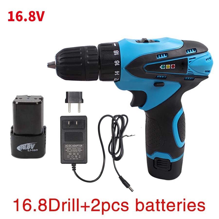 KINGGUARD 16.8V Cordless Drill Electric Two-Speed Rechargeable 2pcs Lithium Battery Waterproof Drill LED Light 25v cordless drill electric two speed rechargeable 2pcs lithium battery waterproof drill led light