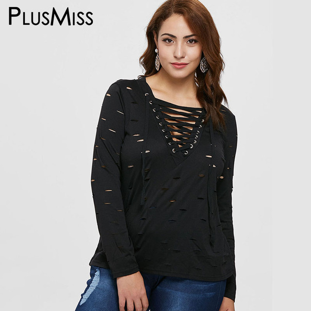 PlusMiss Plus Size Hollow Out Black Tops Tees Women Long Sleeve Ripped Lace  Up v Neck Sexy t-Shirts Big Size t Shirt Autumn 2018 5f2a6d7500b8