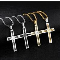 Argento bianco Nero di Colore Dell'oro Croce Pendente Accessori Catena In Acciaio Inox Collana Preghiera gioielli Uomini religione Gioielli