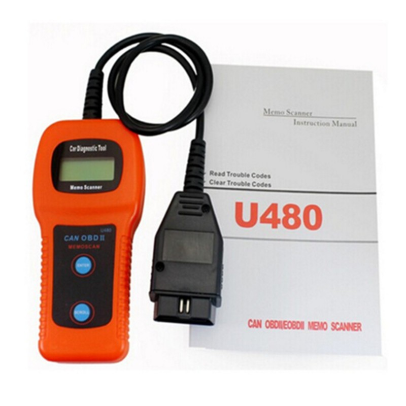U480 OBD2 CAN BUS Engine Fault Code Reader Memo Scanner for Cars and Trucks U 480 AUTO Diagnostic Scanner free shipping
