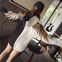 Wings Embroidered with Cap Hoodie Clothes Female Lovers Tide Fashion Brand Student Bf Wind Fashion Hooded Sweatshirts Hoodies