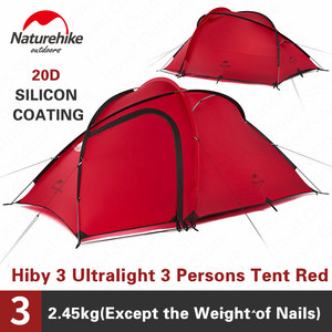 Image 3 - Naturehike Tent Hiby Series Camping Tent 3 4 Persons Outdoor 20D Silicone Fabric Double layer 4 Season Ultralight Family Tent