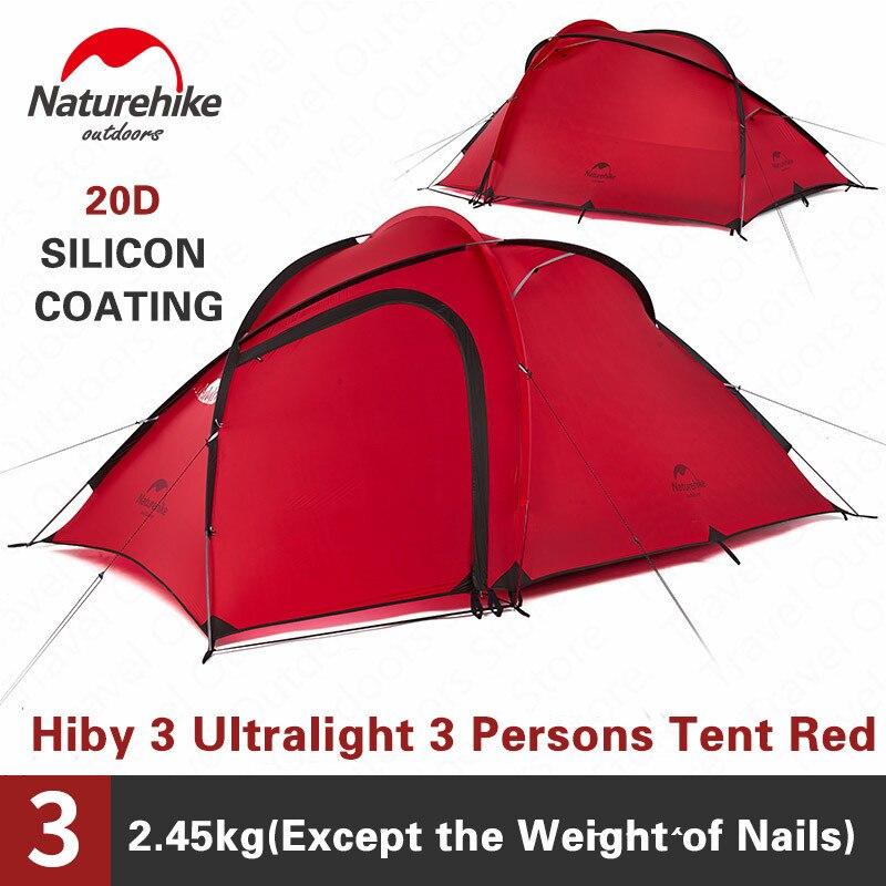 Tienda de campaña de la serie Hiby de Naturehike 3-4 personas al aire libre 20D tela de silicona Doble Capa 4 temporada ultraligera familia tienda