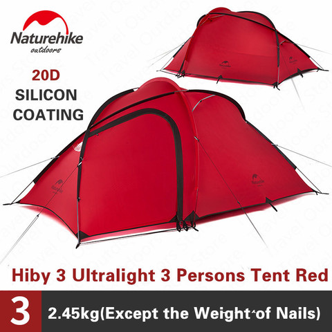 naturehike tenda hiby serie 20d 3 4 pessoas barraca de acampamento ao ar livre tecido