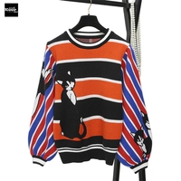 2018 New Knit Pullover Sweater Women Runway Designer Casual Striped Colorful Cat Loose Autumn Winter Basic