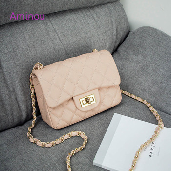 Aminou Luxury Handbags Women Shoudlder Bags Designer 2017 For Teenager Small Messenger Bags Diamond Lattice Chain Bolsas