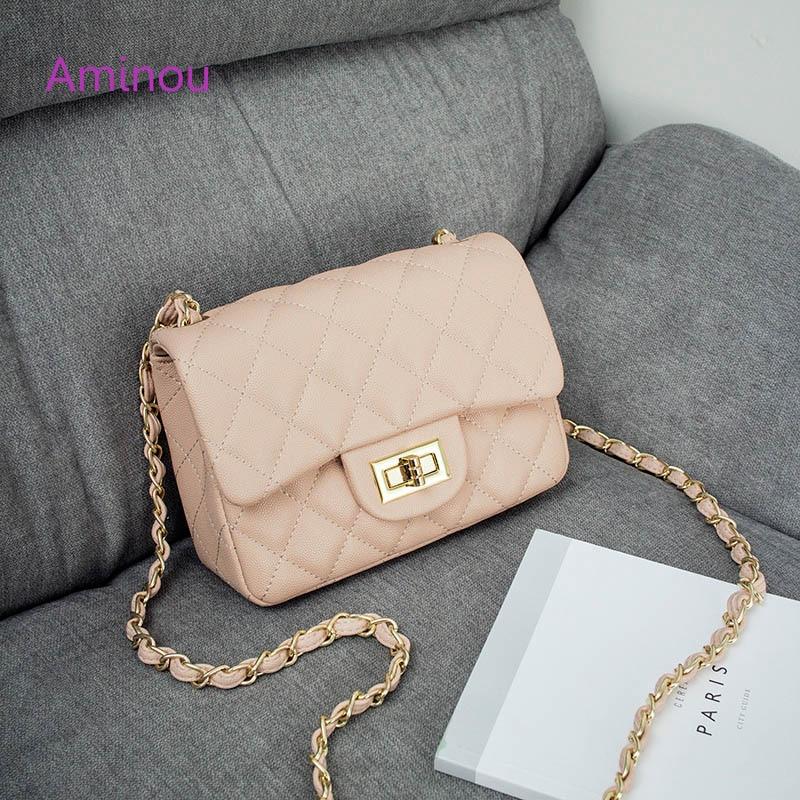 Aminou Luxury Handbags Women Shoudlder Bags Designer 2017 For Teenager Small Messenger Bags Diamond Lattice Chain Bolsas