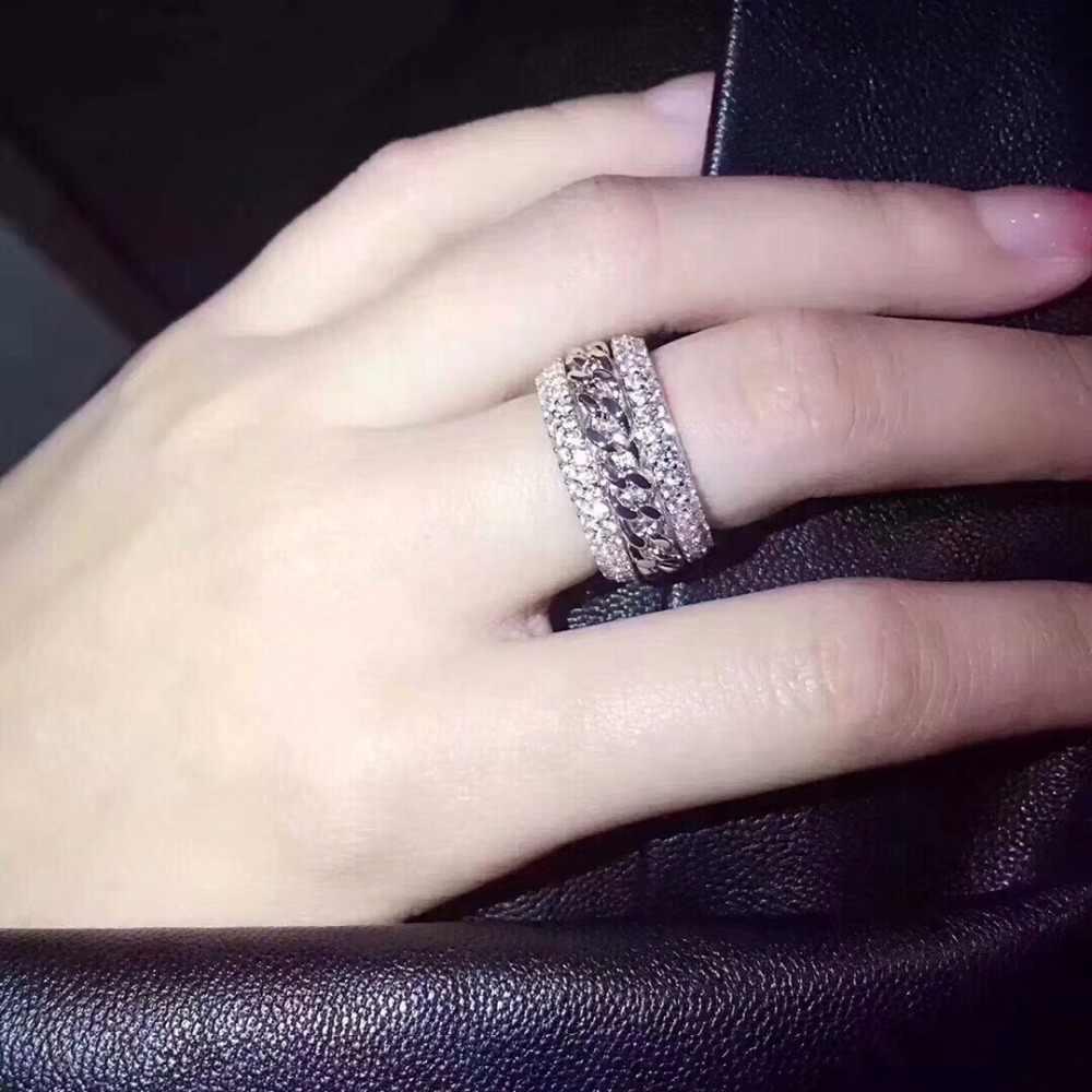 Cintilante nova chegada de luxo jóias 925 prata esterlina impressionante 5a claro branco zircônia cz feminino casamento rotatable china anel