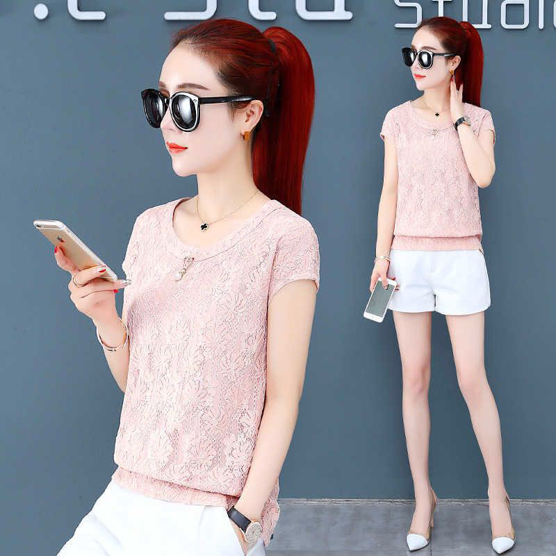 Women Spring Autumn Style Lace   Blouses     Shirts   Lady Casual Short Sleeve Embroidery O-Neck White Blusas Tops DF2684