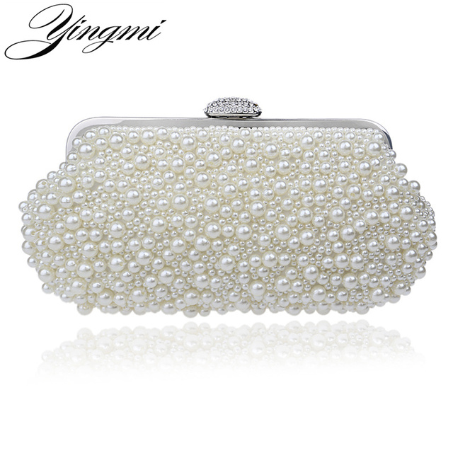 e6752ab38c YINGMI beaded women vintage evening bags imitation pearl shell shaped women bag  shoulder bags,diamonds clutch bag for wedding