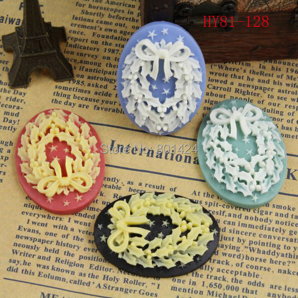 free shipping 81-128 10piece resin cameo Christmas wreath style flat back Resin Cab Cabochon for craft accessories cameo setting