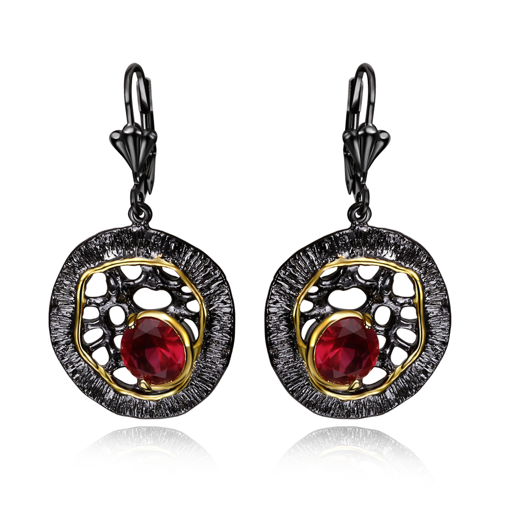 Classic Women Drop Earrings Black Gold color with Cubic ...