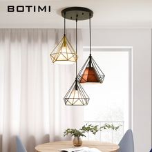 BOTIMI LED Pendant Lights With Metal Lampshade For Dining Round Pendant Lamp Triple Hanglamp Restaurant Luminaria Indoor Light botimi colorful pendant lights for dining nordic led pendant lamp with lampshade single e27 bar light indoor hanging lamps