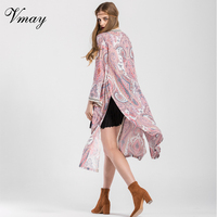 Vmay 2018 New Arrival Women Bohemian Beach Kimono Shirt Floral Print Spliced V Neck Boho Style