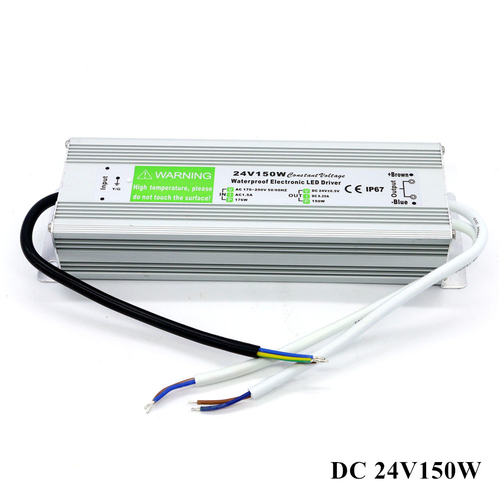 Waterproof IP67 DC 24V Power Supply Transformer AC 110V 220V DC 24V 150W 6.25A Adapter for Outdoor Garden LED Lights Driver 24v 8 5a power supply waterproof ip67 adapter ac 96v 240v transformer dc 24v 200w ac dc led driver switching power supply ce fcc