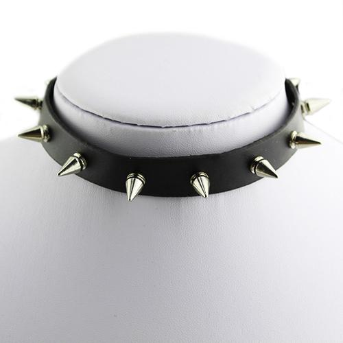 Gothic Men Women Unisex Faux Leather Spike Rivet Choker Punk Necklace Jewelry Faux leather gift necklace jewelry Spike Party
