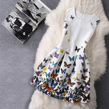 Hot Sale New 2017 Baby Girls Full Butterfly Print Dress 6 to 12 Years Kids Sundress