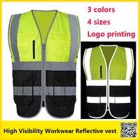 SFvest двухцветный светоотражающий жилет спецодежда светоотражающий жилет с карманами muilti Бесплатная доставка